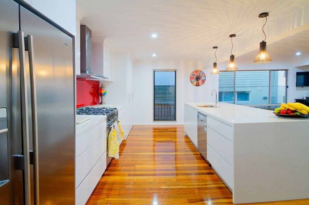 contemporary kitchen with downlight feature