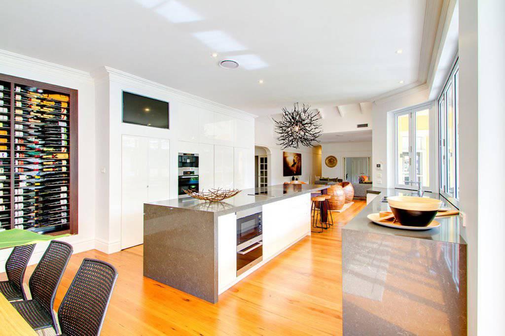 elegant kitchen with large island