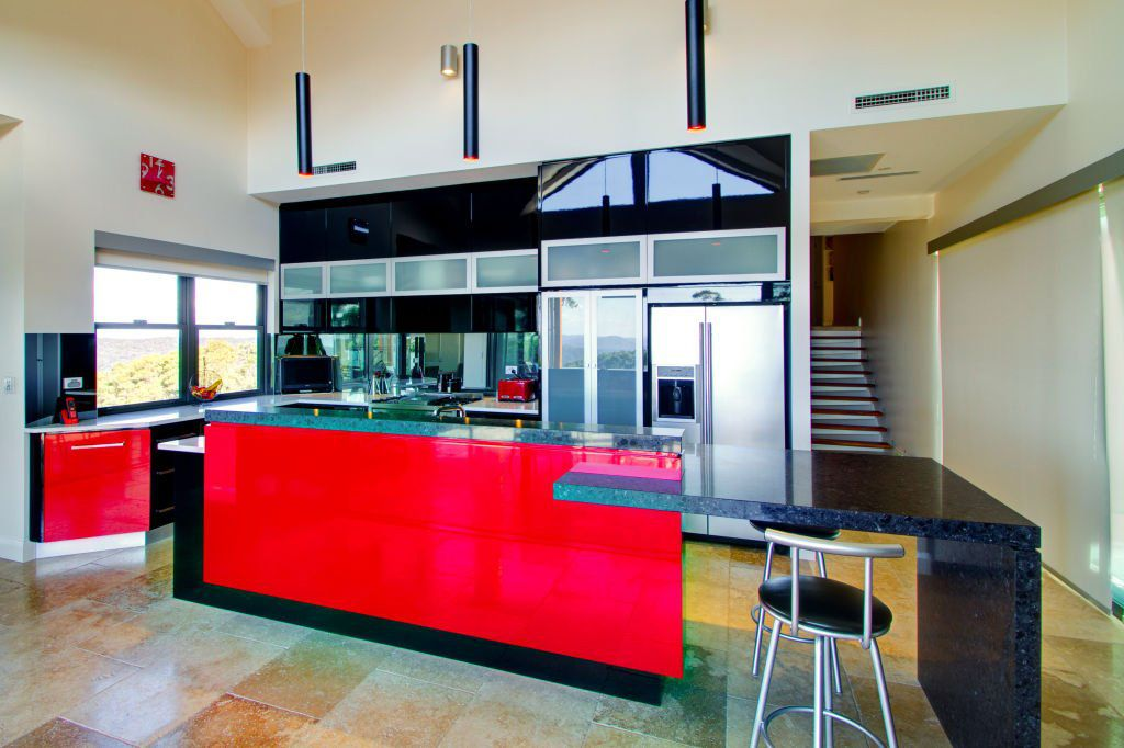 contemporary bright red black and white kitchen