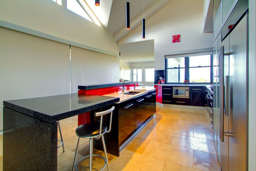 contemporary bright kitchen with breakfast bar