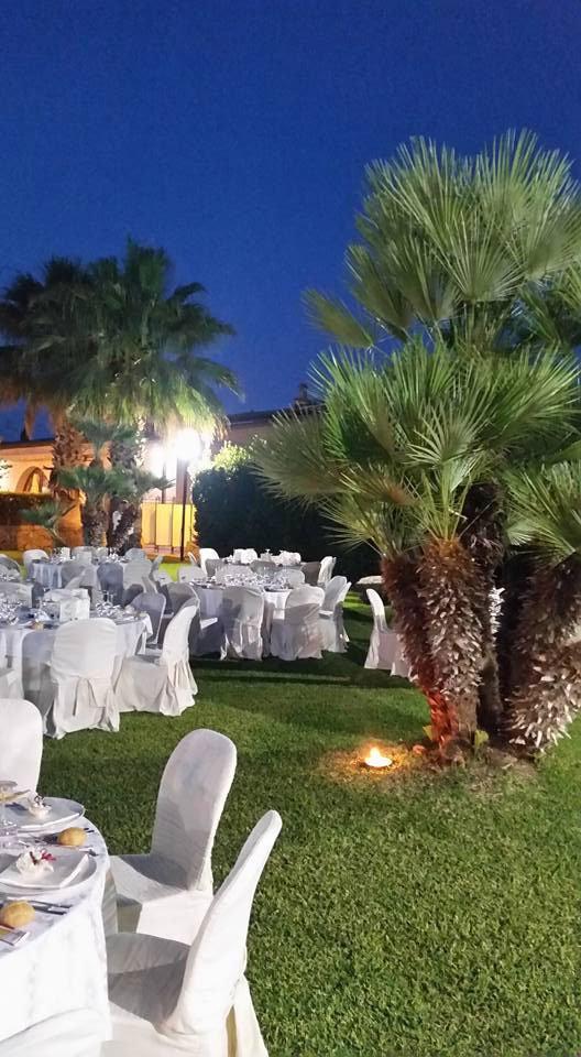 Dei tavoli in un prato e delle palme