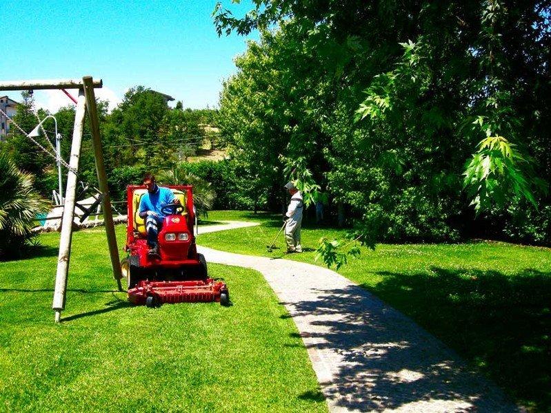 operaio taglia l'erba