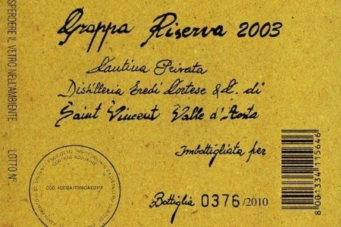 Grappa Riserva 2003. Cantina privata.