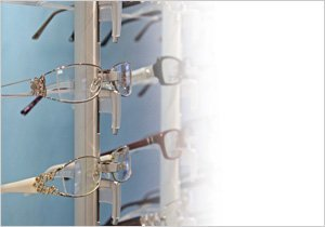 Women's designer and budget glasses on display at Saunders Opticians, Colwyn Bay