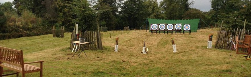several archery boards arranged