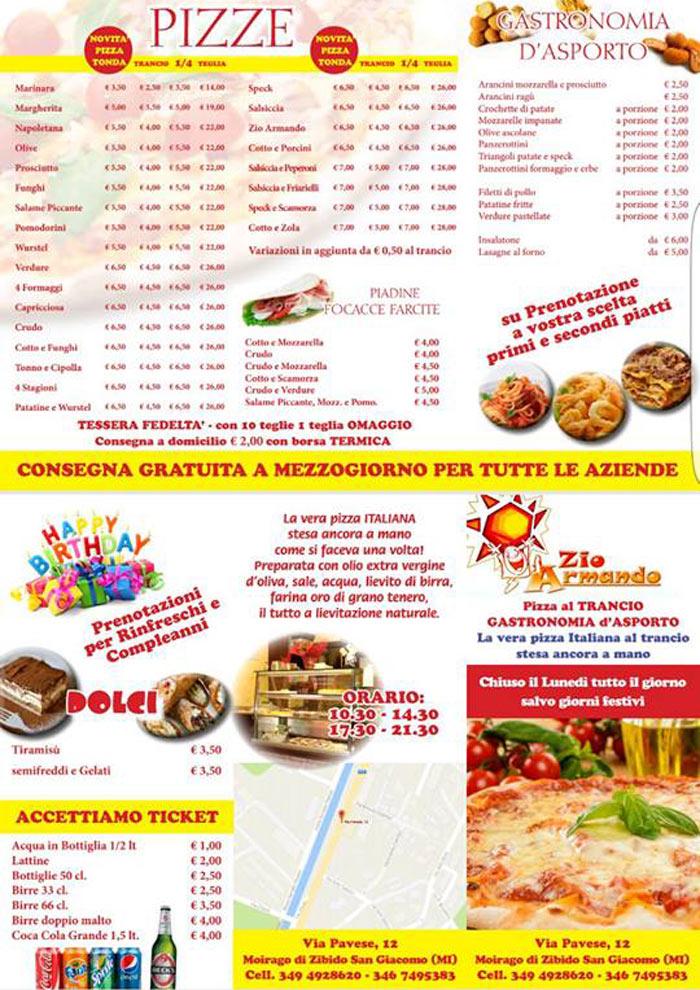 listino prezzo pizze e gastronomia d`asporto