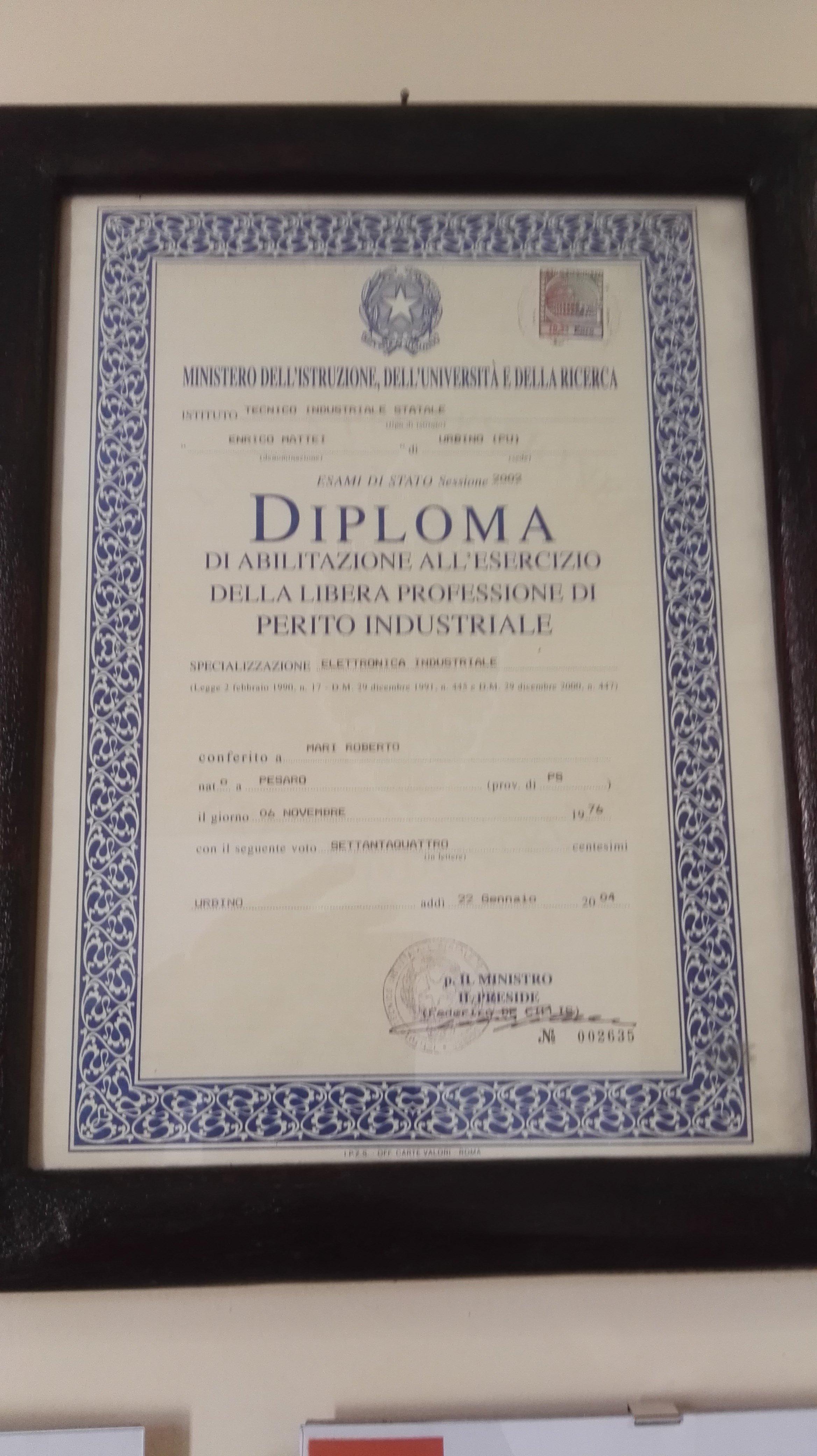 Certificato requisiti tecnici