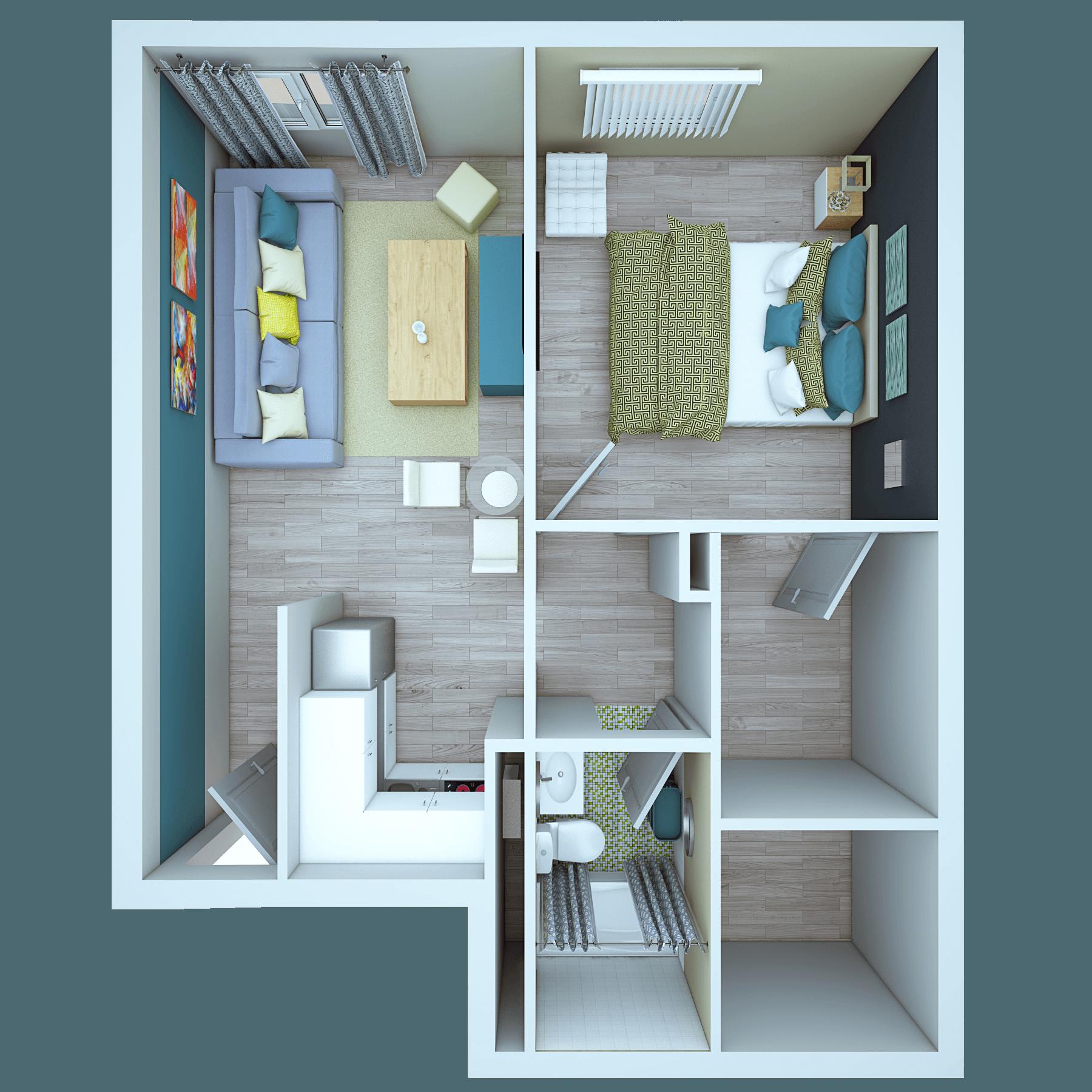 Vue at 3rd Top View Bedroom Bathroom Living Room
