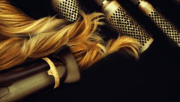capelli, spazzola, phon, oro