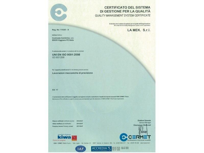 Certificato del sistema per la gestione della qualità ISO 9001:2008