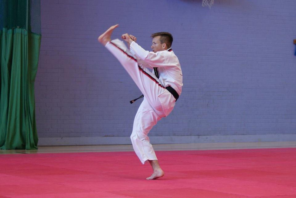 A boy kicking