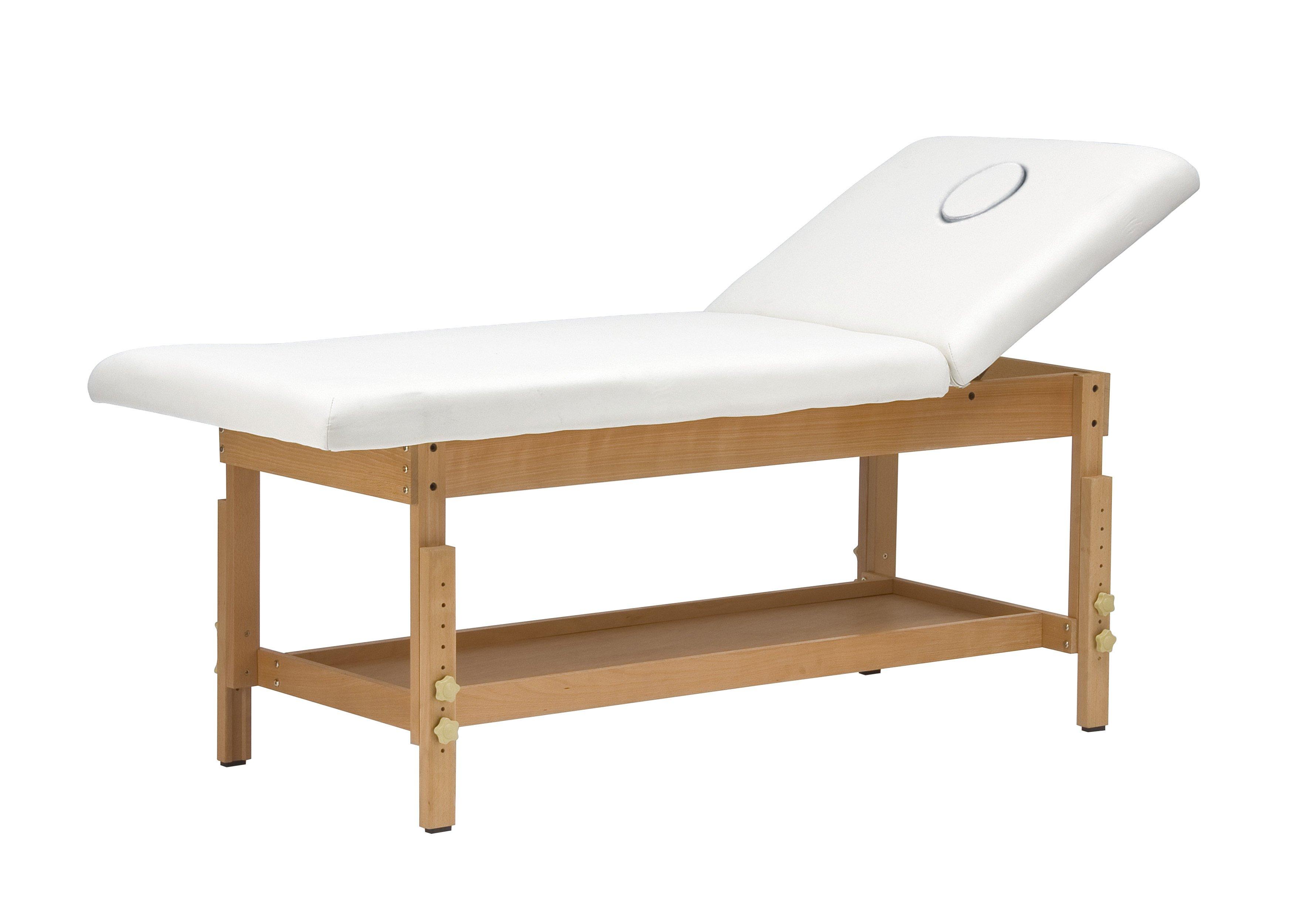 Lettino bianco reclinato con base in legno