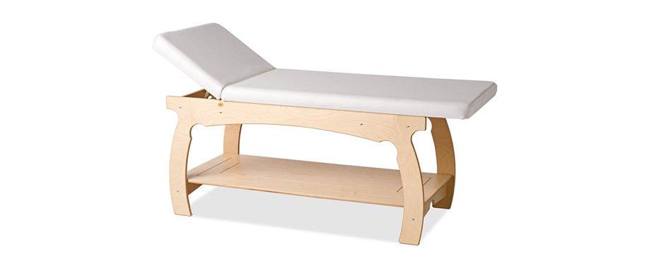 Lettino bianco con base in legno ricurvo