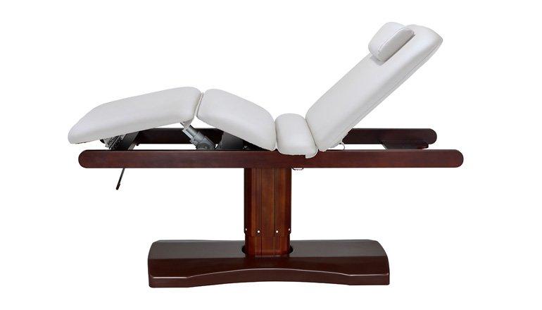 Lettino reclinabile bianco con base in legno