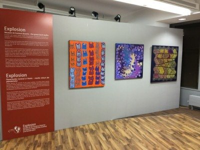 The Dreaming artwork on display at the exhibition