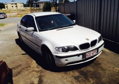 white bmw front right side