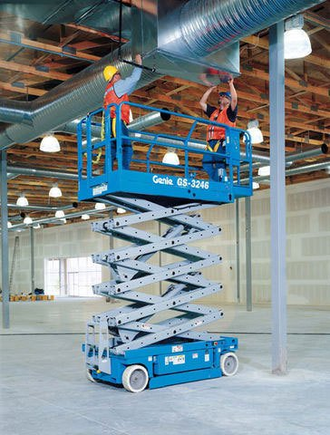 Two men on a blue scissor lift