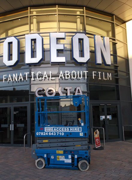 One of our scissor lifts outside of an Odeon cinema
