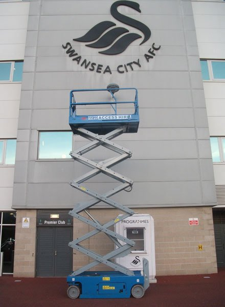 One of our scissor lifts outside of Swansea AFC