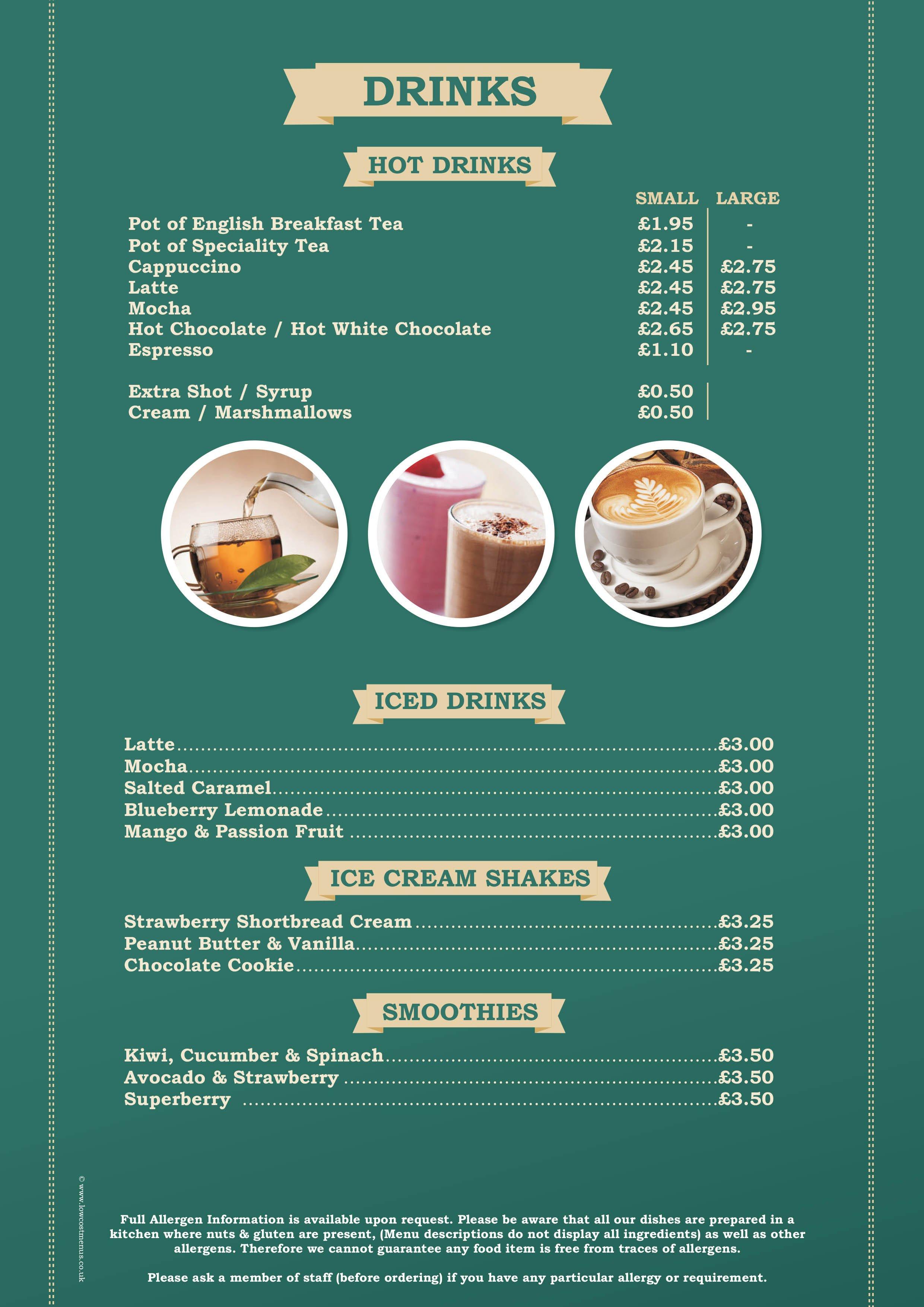 breakfast  u0026 coffee in hook community centre  u2013 menu