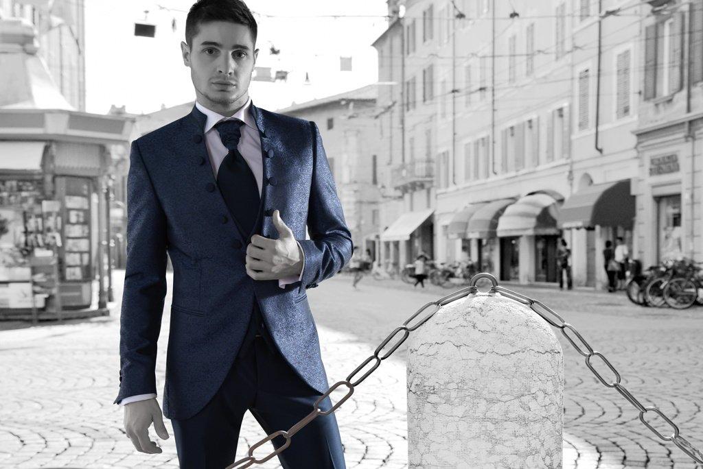 Completo elegante blu scuro, spm abbigliamento, viterbo