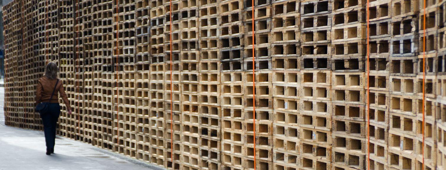 Wooden pallets in an NZ warehouse