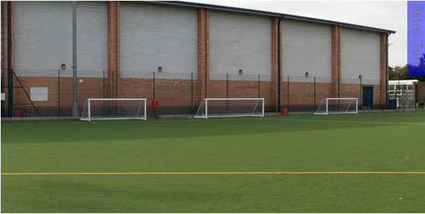 Astroturf pitch with three goal nets