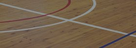 Indoor sports court with white and red markings