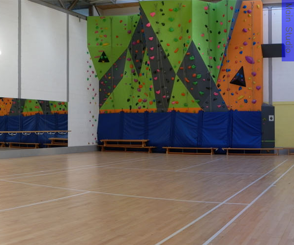 A multi-coloured climbing wall