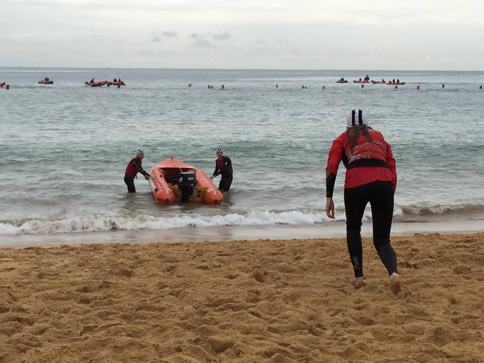 Professionals using the rescue boat