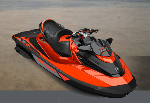 Red and black colour watercraft