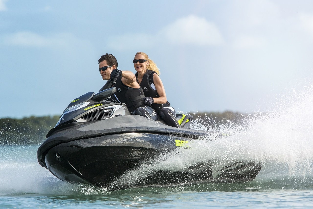 Couple having fun on the jetski