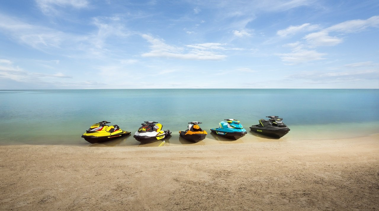 Range of PWC boats on the beach