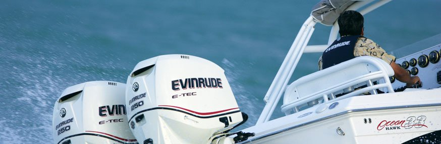 Evinrude engine fitted on a speed boat