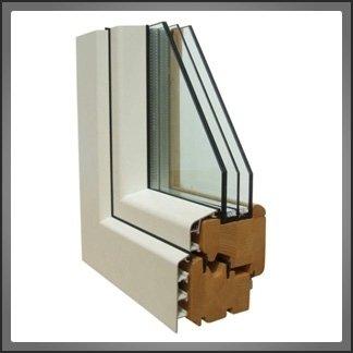 infisso legno alluminio sezione