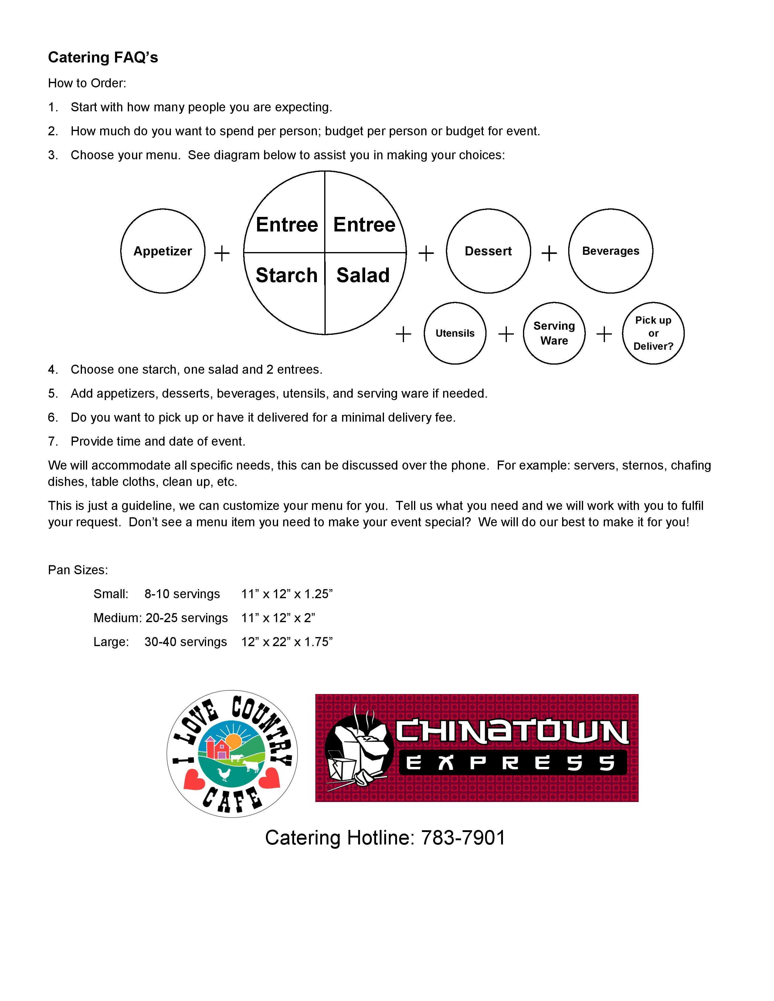 Catering FAQ's