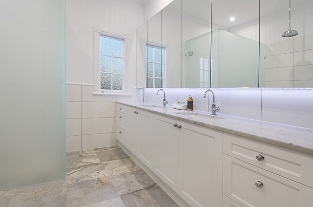 white bathroom cabinetry