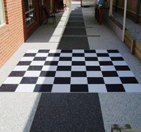 Black and white chequered paving