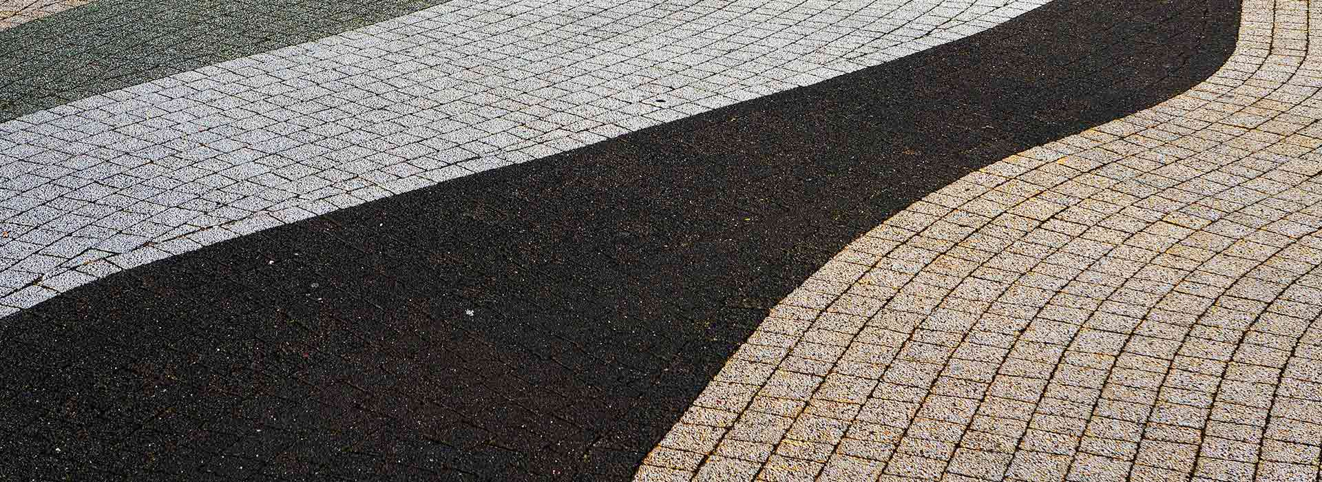 Pattern paving in a wavy abstract design