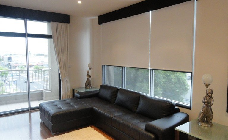 White blinds in living room