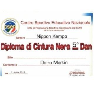NIPPON KEMPO DIPLOMA CINTURA NERA 5° DAN A VARESE