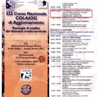 III Corso nazionale COI-AIOG aggiornamento- Patologie di confine del distretto cranio- cervicale