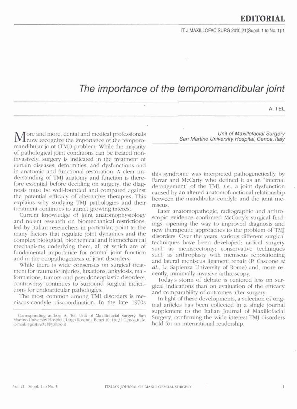 monografia su articolazione temporo mandibolare