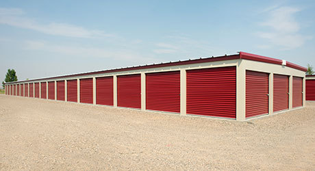 Red self-storage units in Cincinnati