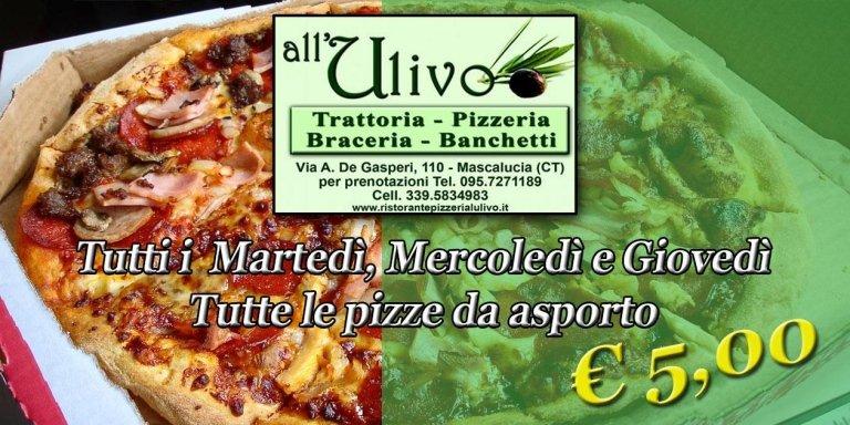 viene rappresentata l'offerta di 5 euro per la pizza take away
