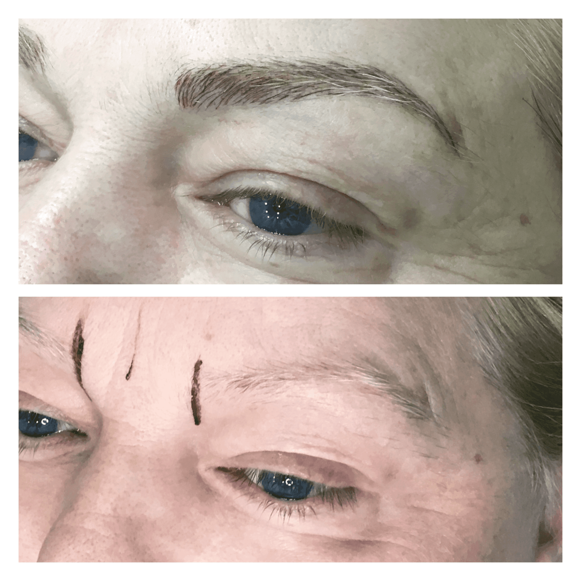 Before and after of eyebrow make up