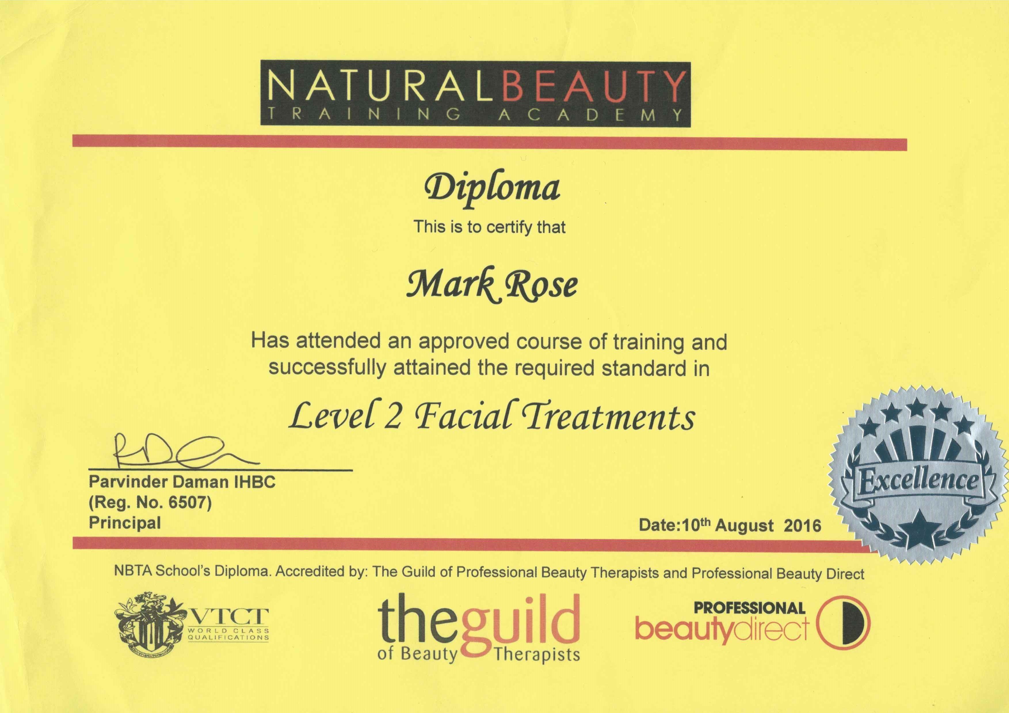 Natural beauty certificate