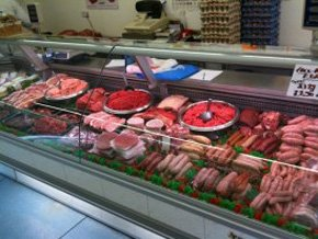 meat counter at P B George Butchers showing qaulity fresh meat