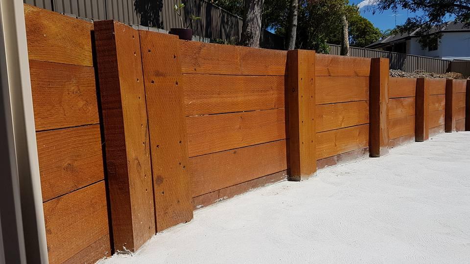 custom wooden retaining wall