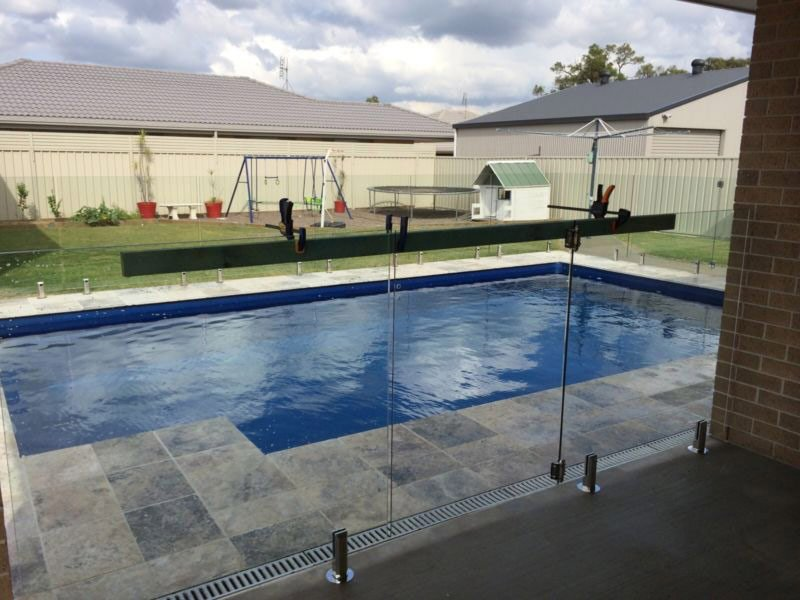 pool with glass gate